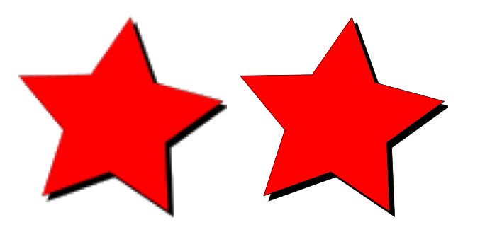 Two star images zoomed in, one crisp and the other blurry