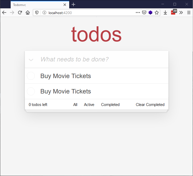todo app rendered in the browser with new todo input field and existing todos showing, both saying buy movie tickets