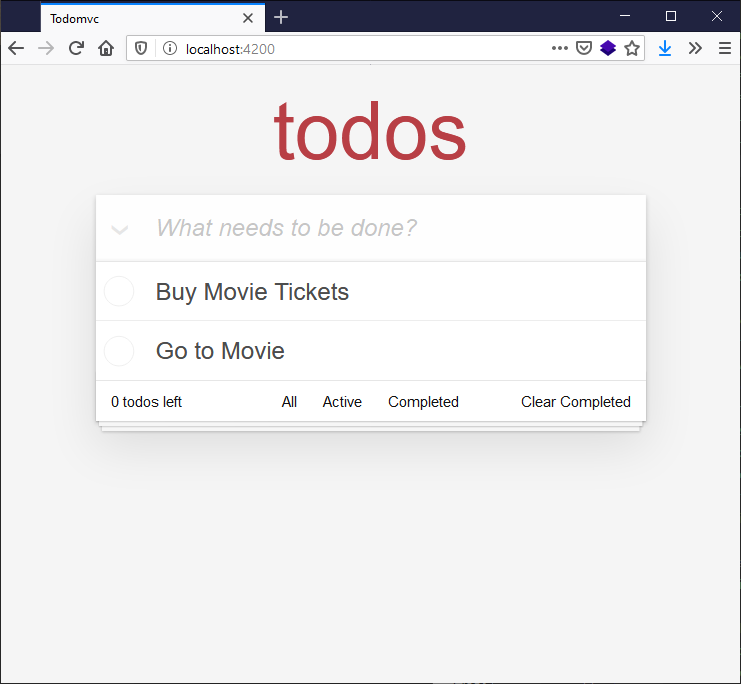 todo app rendered in the browser with new todo input field and existing todos showing, - buy movie tickets and go to movie