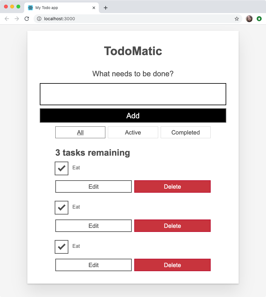 Our todo list app, with todo components repeating because the label is hardcoded into the component